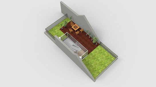 3d photorealistic image of roof terrace floor plan